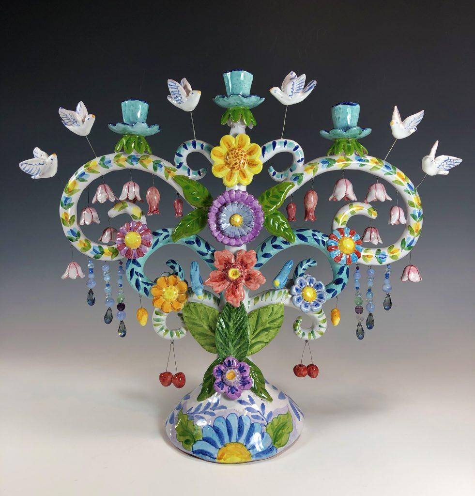 Liz Lauter, Spring Tree of Life, 2021, maiolica technique.