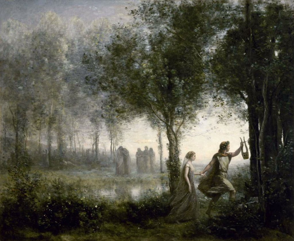 Opera in Art: Camille Coro, Orpheus Leading Eurydice from the Underworld, Orpheus holds his lyre in one hand, as he leads Eurydice out of the misty forest of the underworld. Figures huddle and look downcast in the background