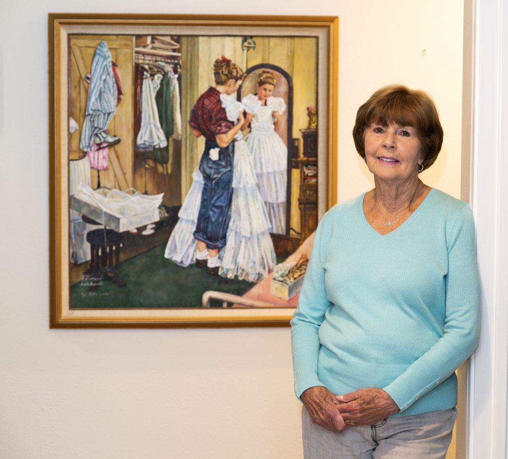 Norman Rockwell Model: Cathy Burow, 86, with a painting of the Saturday Evening Post cover March 19, 1949, in her Somis, California home. Burow, whose maiden name was Smith, was 14 when she was featured on the cover of the Saturday Evening Post, March 19, 1949, one of the few (perhaps only) models from the west coast to grace the cover of the Post. Photo by Dave LaBelle.