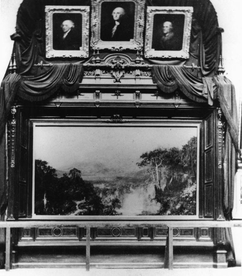 Frederic Church, Heart of the Andes, 1859, original frame as exhibited in April 1864 at the Metropolitan Fair in Aid of the Sanitary Commission in New York. Stereograph photo by J. Gurney & Son. Collection of the New York Historical Society.