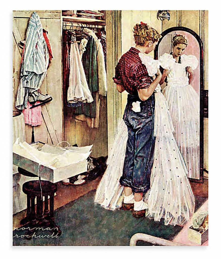Norman Rockwell Model: Norman Rockwell's cover illustration for the Saturday Evening Post, March 19, 1949; with Cathy Burow as a model.
