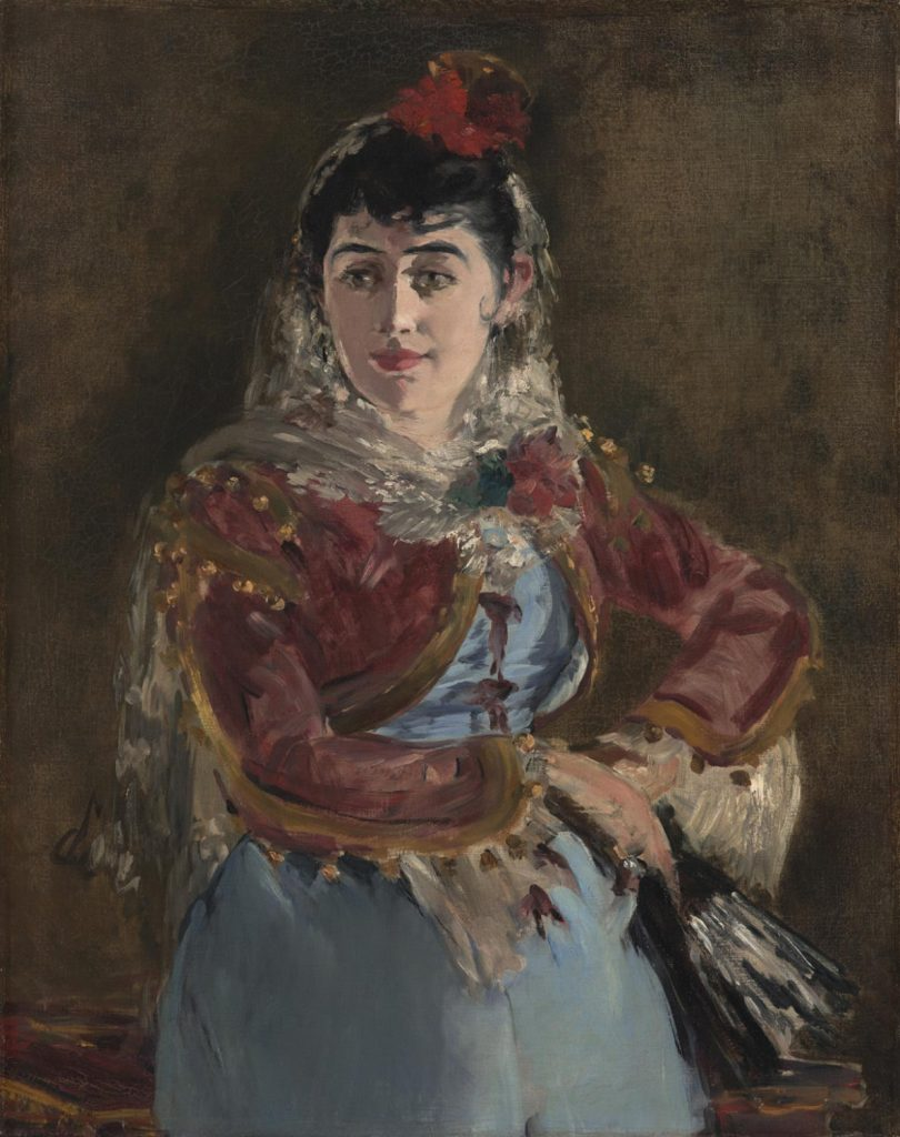 Opera in Art:  Édouard Manet, Portrait of Emilie Ambre as Carmen, a lady dressed in traditional Spanish costume