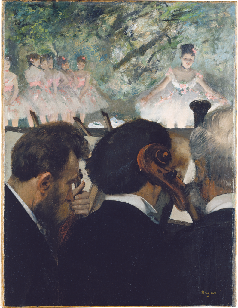 Opera in Art: Edgar Degas, Orchestra Musicians, painting view from the orchestra pit, showing three musicians, with a prima ballerina making a courtsey