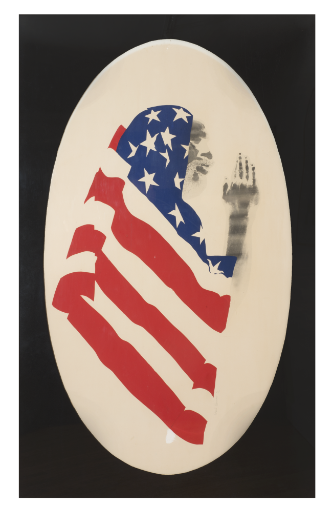 Body in the Art: David Hammons, Pray for America, 1974, Screenprint and pigment on paper, 60 1/2 x 30 inches (153.7 × 76.2 cm). The Museum of Modern Art, New York and The Studio Museum Harlem. Gift to The Museum of Modern Art and The Studio Museum in Harlem by the Hudgins Family in honor of David Rockefeller on his 100th birthday, 2015.
