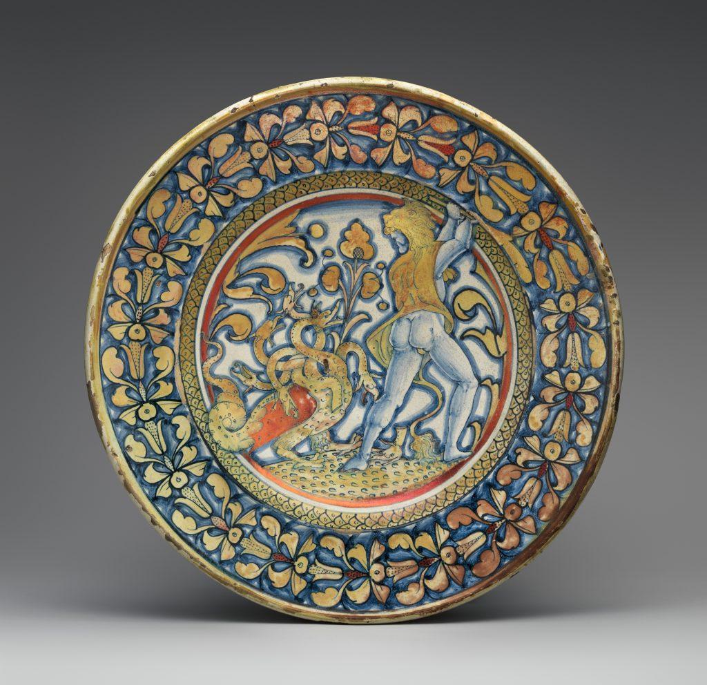 Dish (piatto) 1530-40, Italian, Deruta, Maiolica technique, 37.9 cm, Metropolitan Museum of Art, New York, NY, USA.