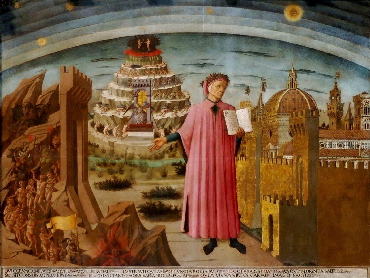 Domenico di Michelino, La Divina Commedia illumina Firenze (The Divine Comedy illuminates Florence), 1465, Domo of Santa Maria del Fiore, Florence, Italy. Source: www.florenceinferno.com.