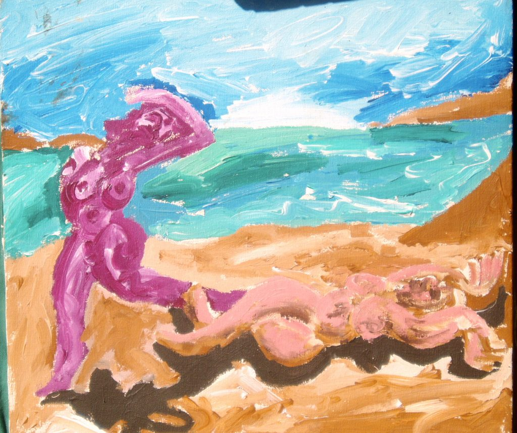 Freedom Beach, author unknown, oil on canvas, purchased at a Boston thrift store, 2007, Museum Of Bad Art.