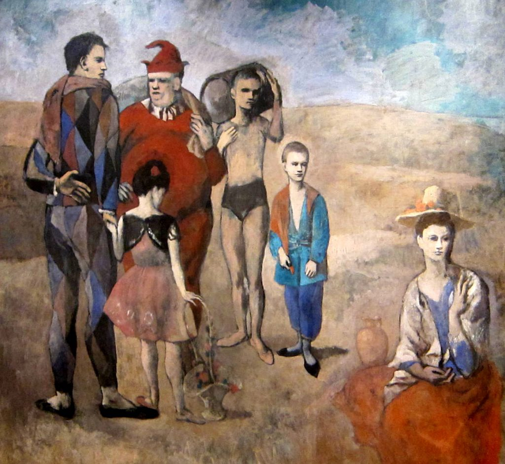 Commedia dell'arte characters in art: Pablo Picasso, Family of Saltimbanques, 1905, National Gallery of Art, Washington D.C., U.S.A