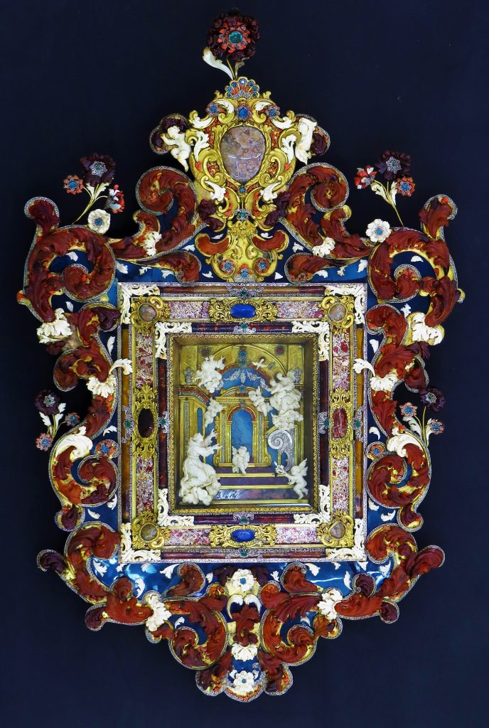Shrine with the Vision of St.Anthony of Padova, c.1720, coral, ivory, bone, lapis lazuli, gilding and other materials, MUŻA - National Community Art Museum/Heritage Malta.