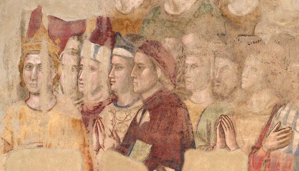 Giotto, Dante's portrait, 1330-1337, frescoes at Cappella di Santa Maria Maddalena, Palazzo del Bargello, Florence, Italy