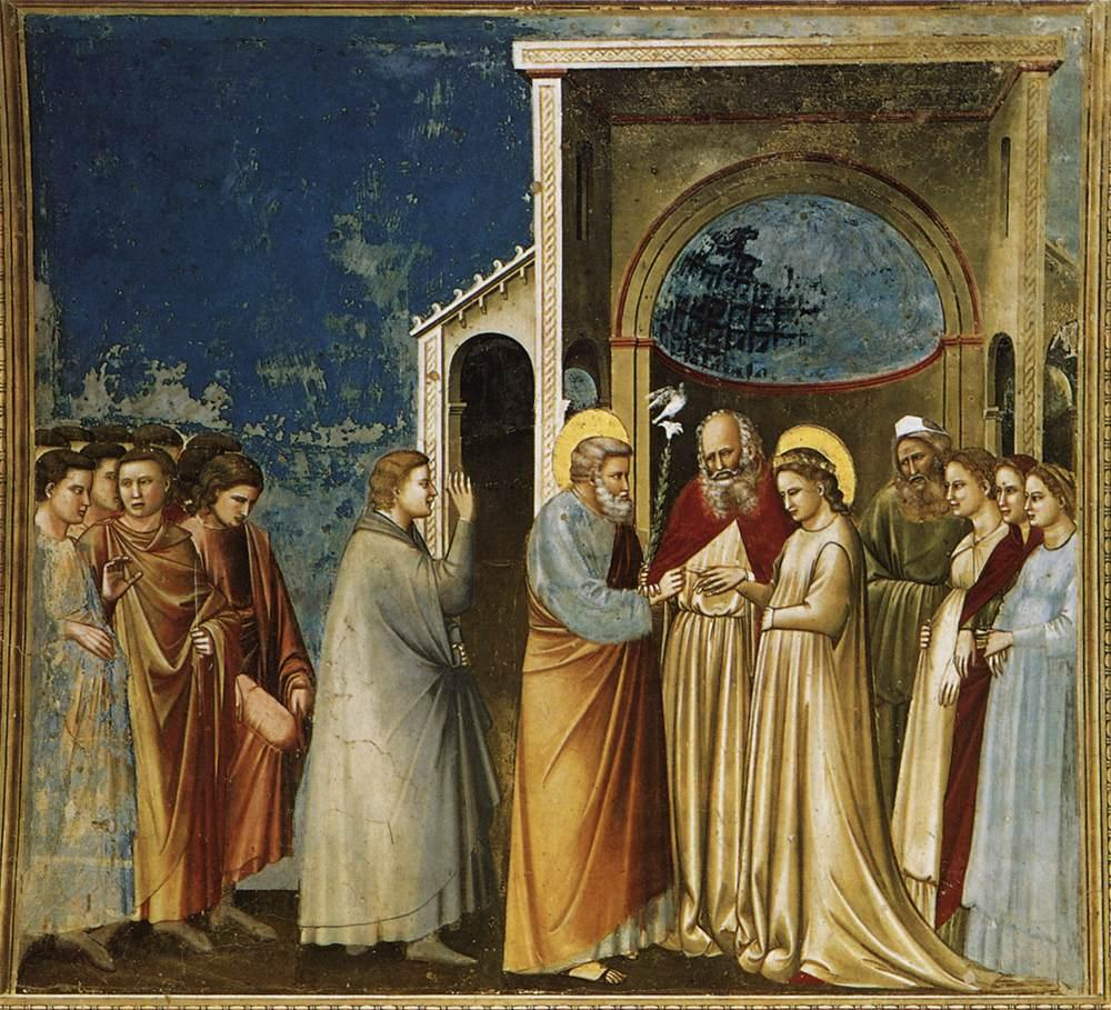 The Marriage of the Virgin. Giotto, The Marriage of the Virgin, 1303-1305, Scrovegni Chapel, Padova, Italy.