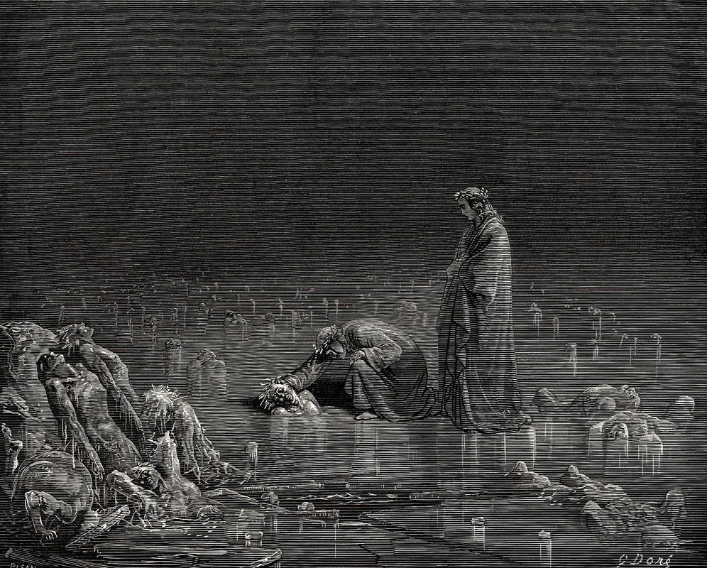 Gustave Doré, Cocytus, Canto XXXII., Inferno, 1852.