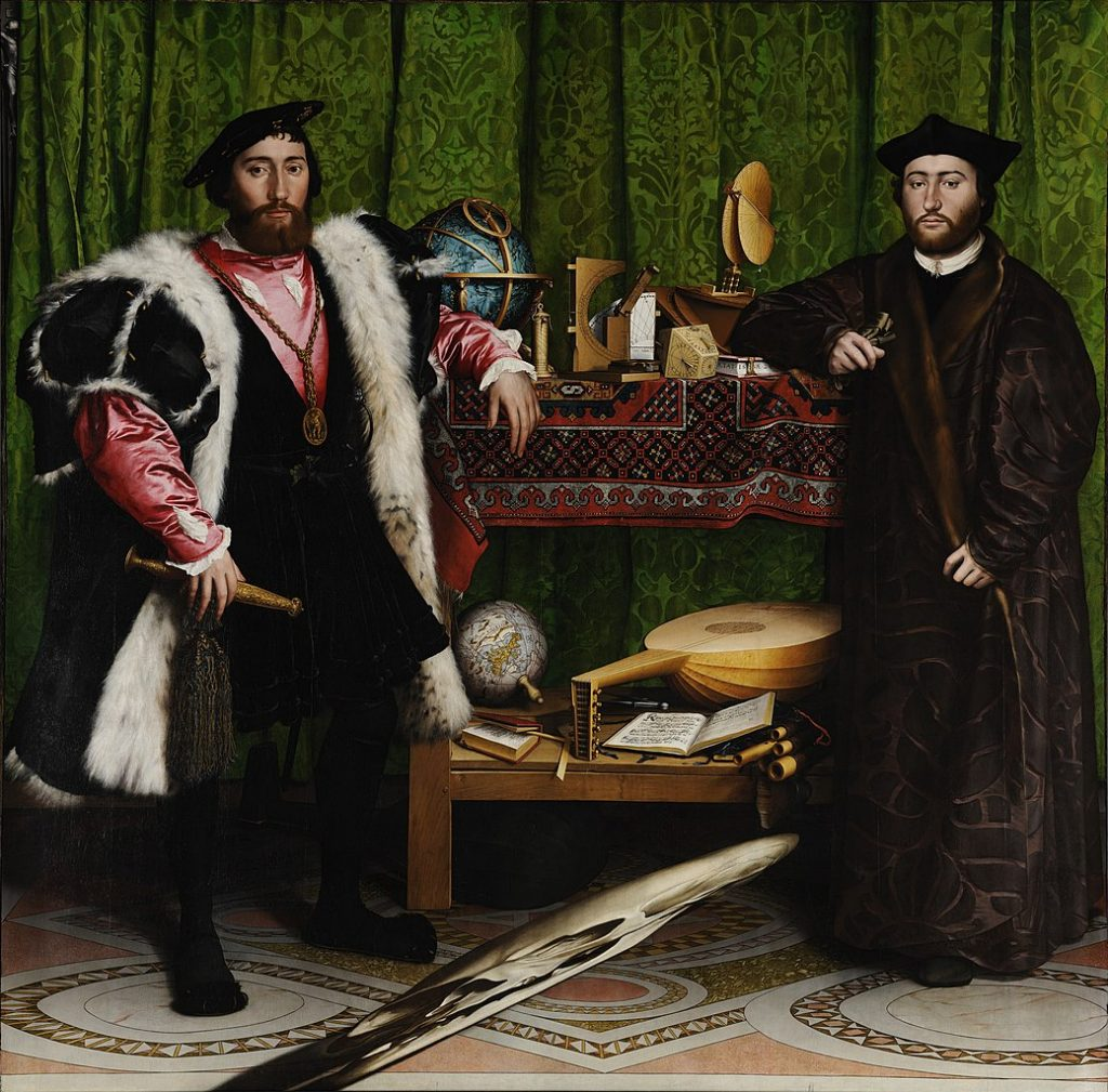 Hans Holbein the Younger, The Ambassadors, 1533, National Gallery, London, UK. Two men in expensive costumes are leaning on a table set with scientific equipment, instruments and books.