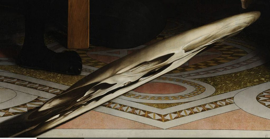 Hans Holbein the Younger, The Ambassadors, 1533, National Gallery, London, UK. Detail. Skull in an unnatural perspective cut.
