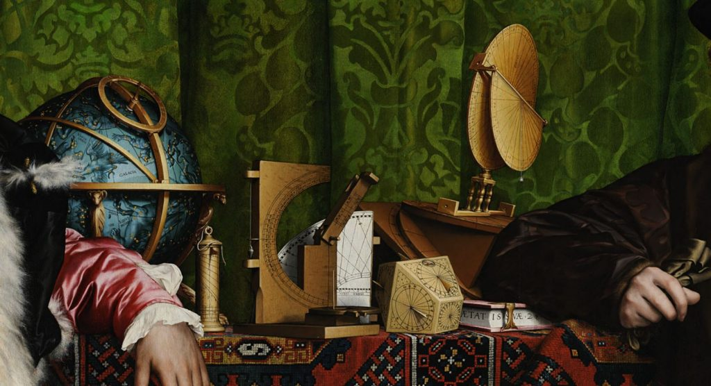 Hans Holbein the Younger, The Ambassadors, 1533, National Gallery, London, UK. Detail. Items on the table.