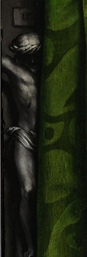 Hans Holbein the Younger, The Ambassadors, 1533, National Gallery, London, UK. Detail. Crucifix in the background.