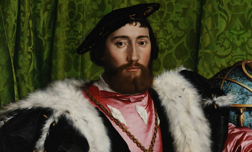 Hans Holbein the Younger, The Ambassadors, 1533, National Gallery, London, UK. Detail. One of the men in representative attire made of expensive materials.