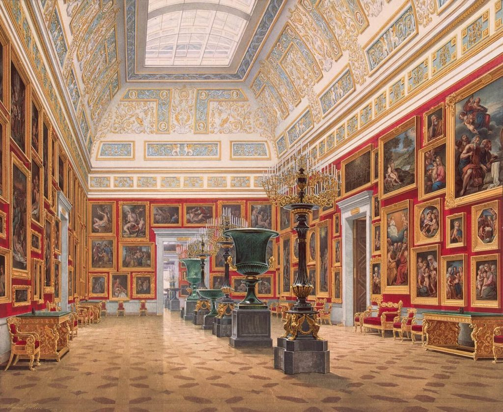 Edward Petrovich Hau, Interiors of the New Hermitage, the Room of Italian Art, 1853, Hermitage Museum, St. Petersburg, Russia. museums in art