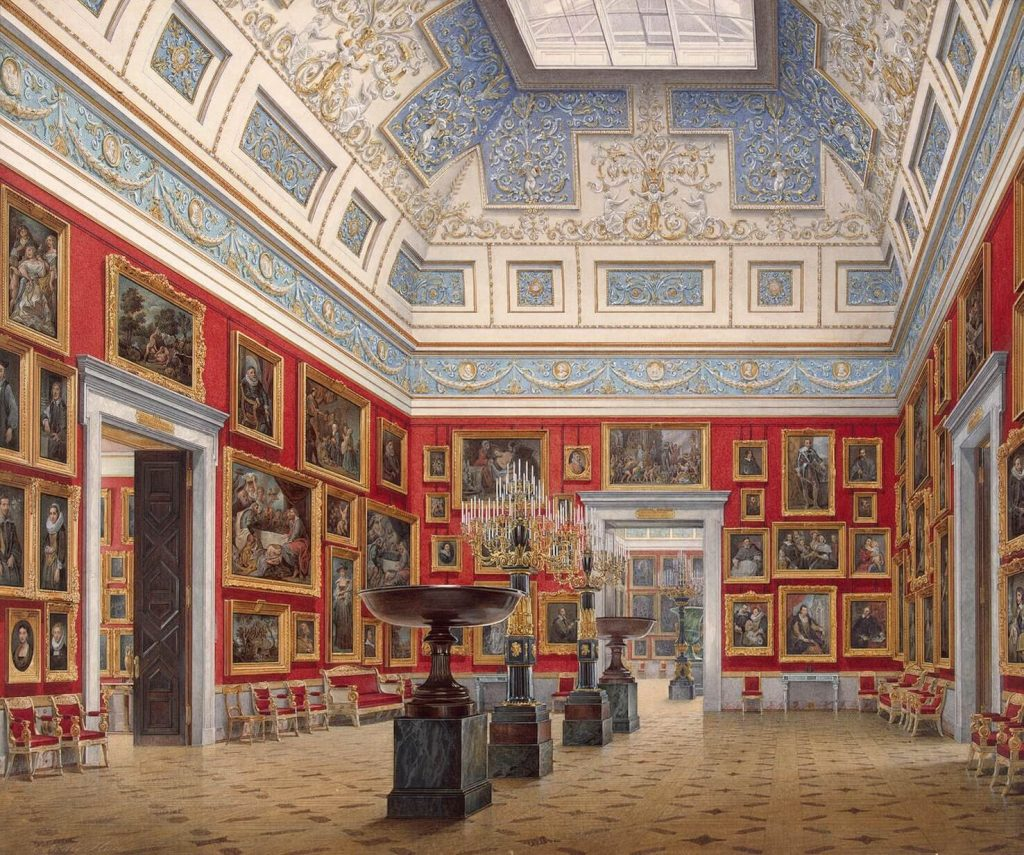 Edward Petrovich Hau, Interiors of the New Hermitage, the Room of the Flemish School, 1854, Hermitage Museum, St. Petersburg, Russia. museums in art