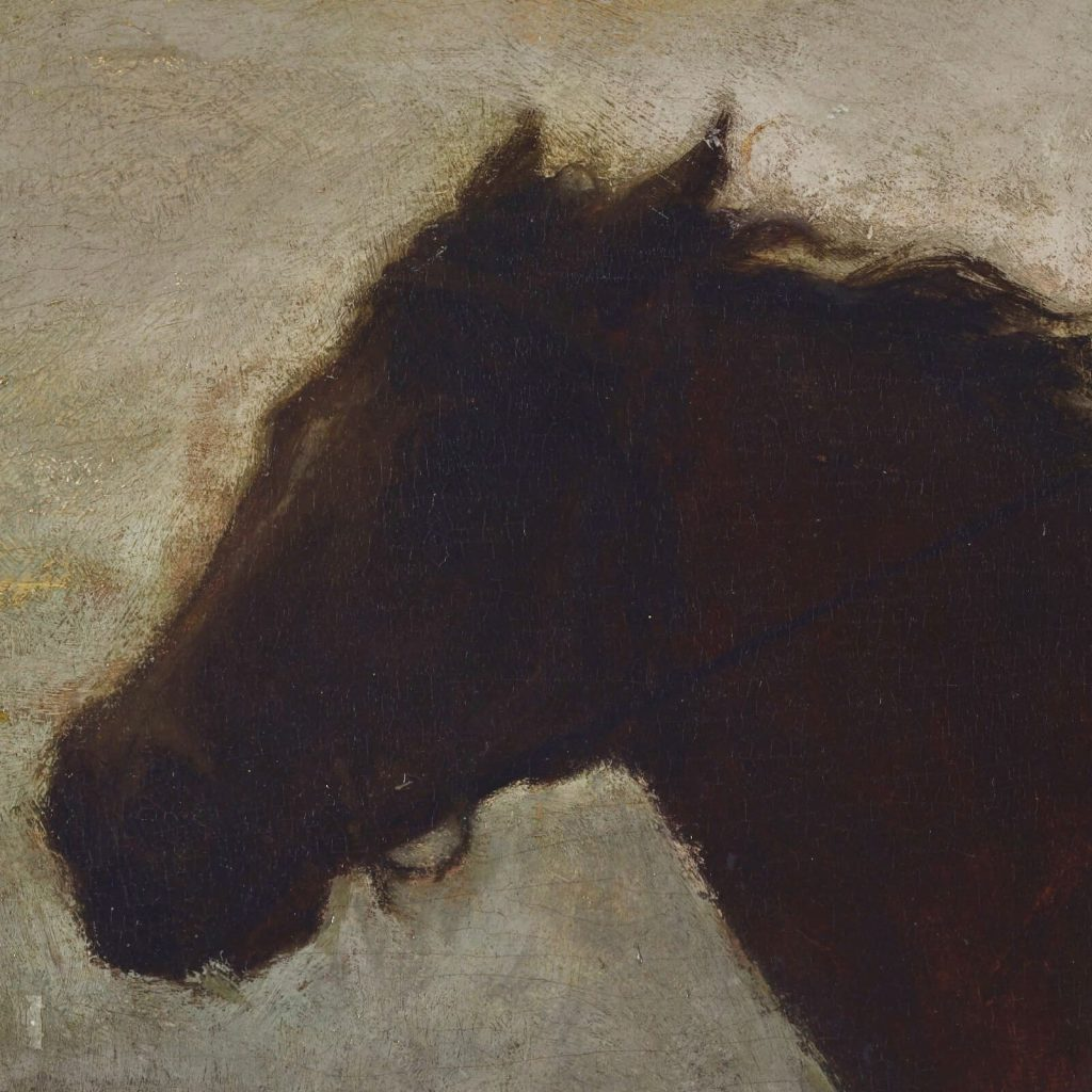 Eastman Johnson, A Ride for Liberty, 1862, Virginia Museum of Fine Arts, Richmond, Virginia, USA. Enlarged Detail of Horse's Head.