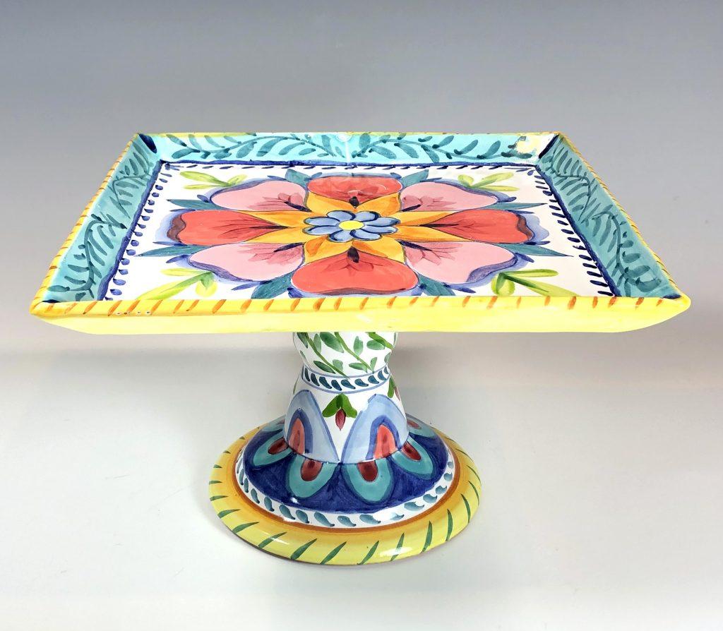 Liz Lauter, Square Cake Plate, 2021, maiolica technique.