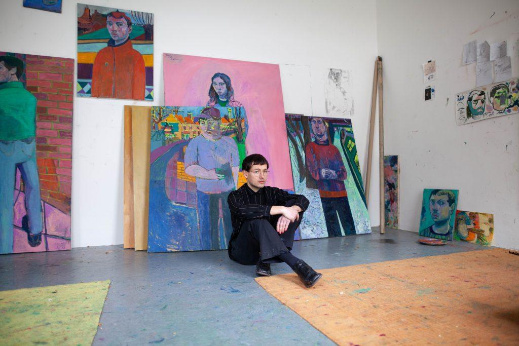 Painter Igor Moritz in his studio