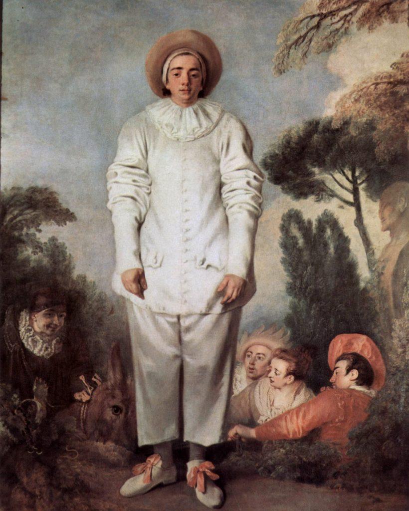 Commedia dell'arte characters in art: Antoine Watteau, Pierrot, 1718-19, Louvre, Paris, France.