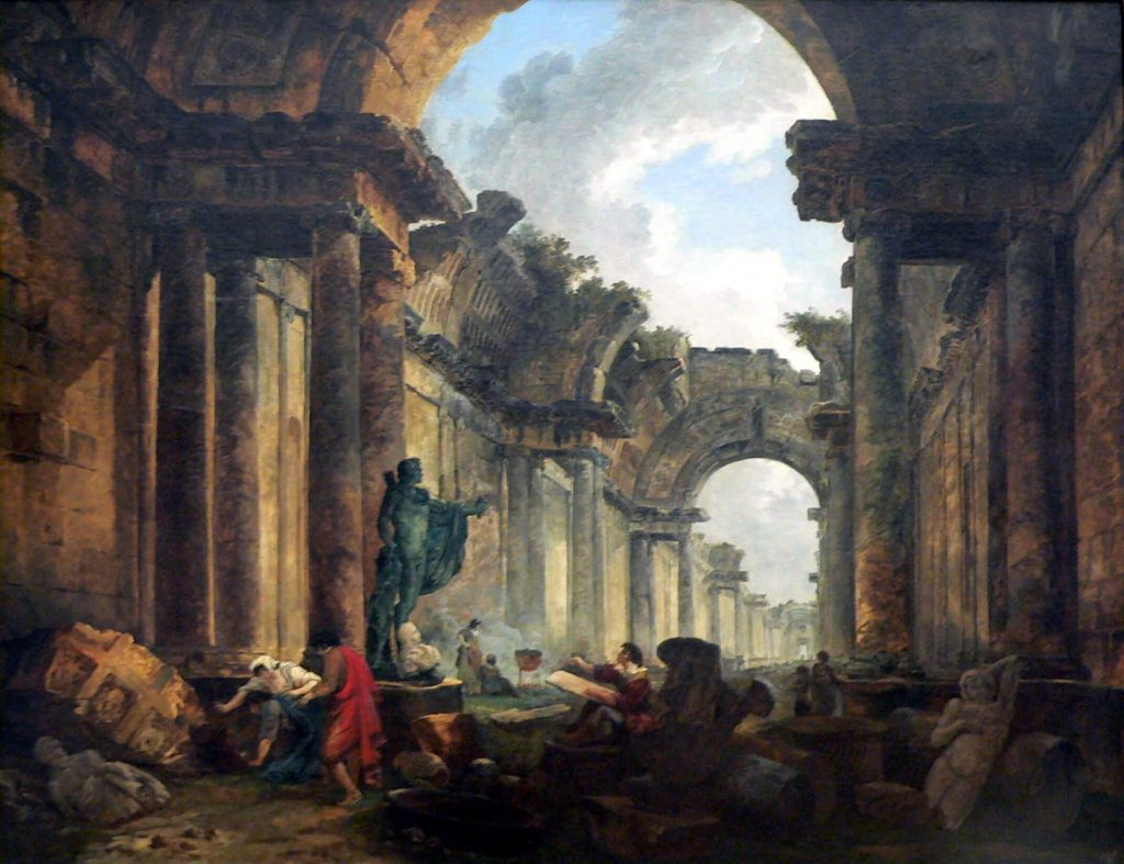 Hubert Robert, Imaginary View of the Grand Gallery of the Louvre in Ruins museums in art