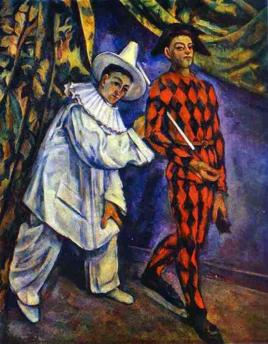 Commedia dell'arte characters in art: Paul Cezanne, Pierrot and Harlequin, 1888, The Pushkin State Museum of Fine Arts, Moscow, Russia.