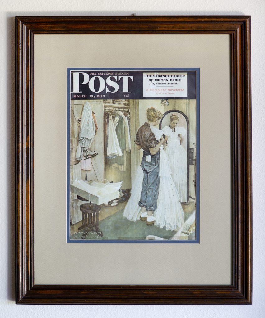 Norman Rockwell Model: Cathy Burow's framed copy of the original Saturday Evening Post cover with Norman Rockwell's illustration. Photo by Dave LaBelle.
