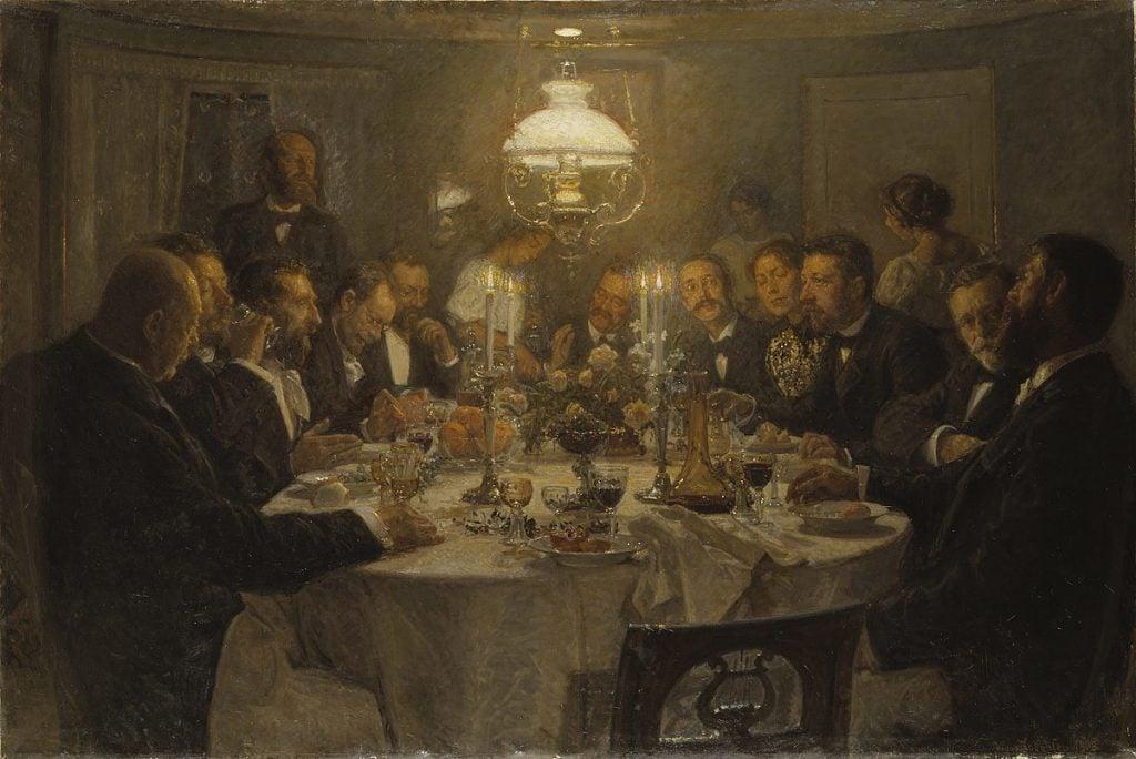 Viggo Johansen, An Artists' Gathering, 1903, Nationalmuseum Stockholm, Stockholm, Sweden.  Wikimedia Commons.