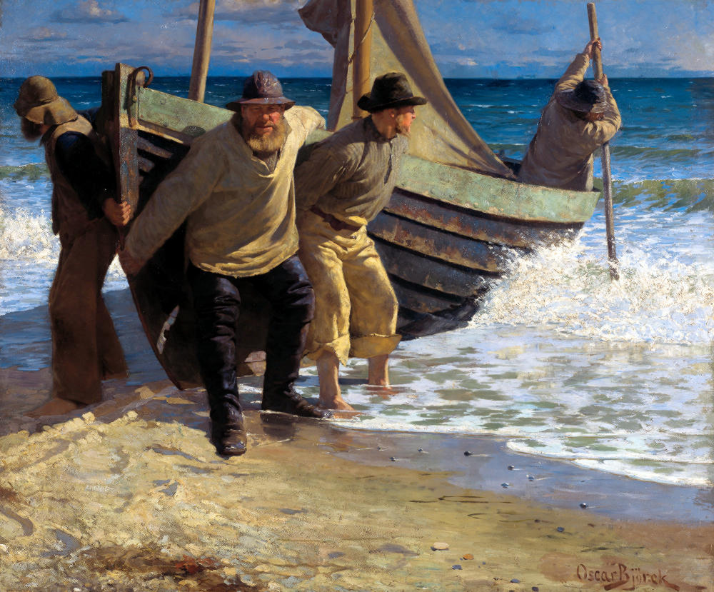 Oscar Björck, Launching the boat. Skagen, 1884, Skagens Museum, Skagen, Denmark. Wikimedia Commons.