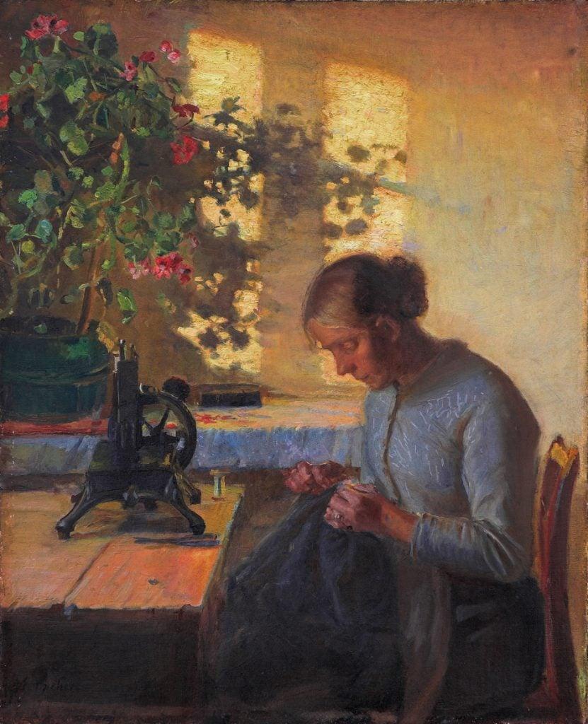 Anna Ancher, Fisherman's Wife Sewing, 1890, Randers Art Museum, Randers, Denmark. Wikimedia Commons.