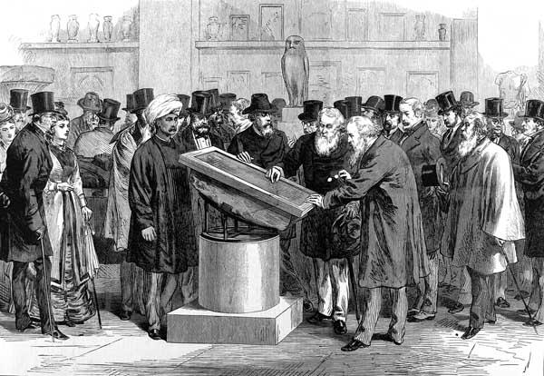 Illustrated London News, Experts inspecting the Rosetta Stone during the International Congress of Orientalists of 1874, 1874, The British Museum, London, UK.