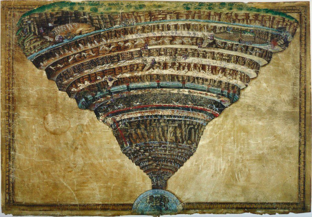 andro Botticelli, The Map of Hell, 1485, Divina Commedia con illustrazioni di Sandro Botticelli, Biblioteca Apostolica Vaticana, Vatican, Italy.