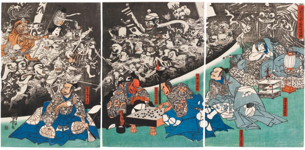 Spiders in art: Utagawa Kuniyoshi, Minamoto no Yorimitsu-ko no yakata ni tsuchigumo yokai o nasu zu 源頼光公館土蜘作妖怪圖 (The Earth Spider Conjures up Demons at the Mansion of Minamoto no Raiko), 1843, private collection.