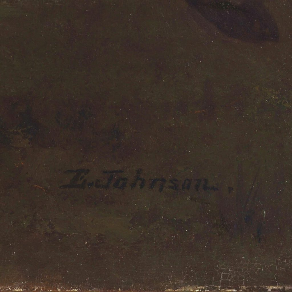 Eastman Johnson, A Ride for Liberty, 1862, Virginia Museum of Fine Arts, Richmond, Virginia, USA. Enlarged Detail of Signature.