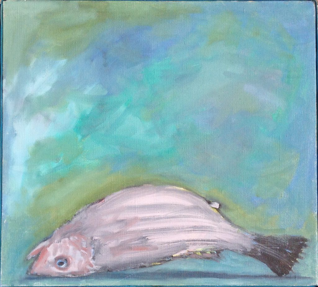 Un Poisson Mort, author unknown, oil on canvas, purchased at a Boston thrift store, Museum Of Bad Art.