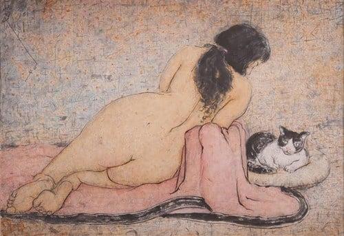 Pan Yuliang, Woman Watching a Cat,