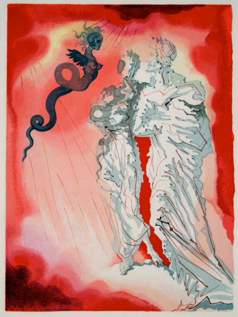 Salvador Dalí, Fraud illustration of Canto XXI. of Inferno, 1950.