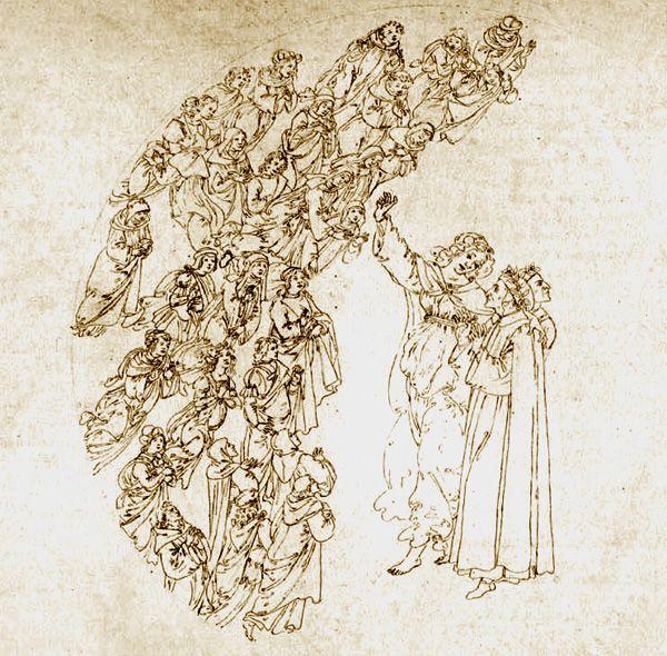 Sandro Botticelli, Dante and Beatrice, Canto III, Paradise, 1490, Divina Commedia con illustrazioni di Sandro Botticelli, Biblioteca Apostolica Vaticana, Vatican, Italy.