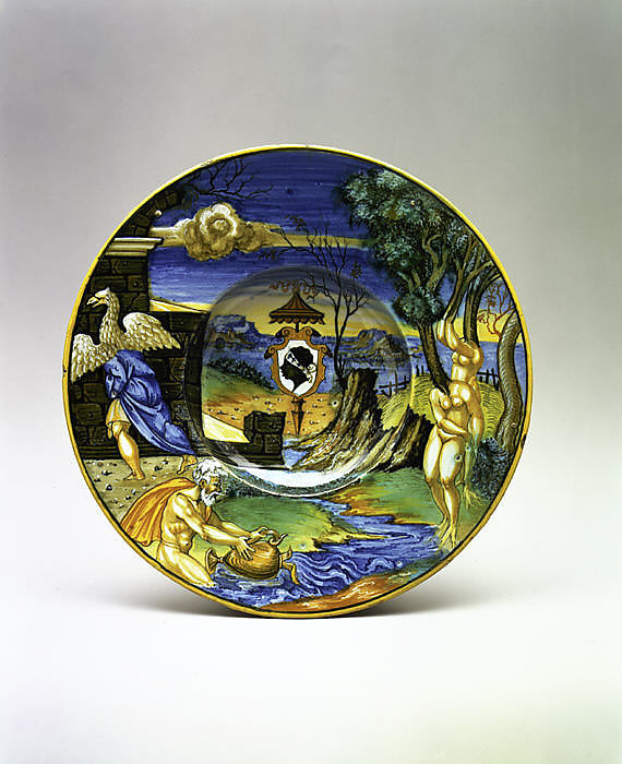 Franceso Xanto Avelli da Rovigo, Amorial dish: The story of Phaeton, 1532, Maiolica technique, 26.9 cm, Metropolitan Museum of Art, New York, NY, USA.