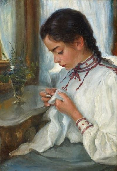 Fanny Brate, Portrait of Astrid Brate, 1901, private collection. Art Renewal Center.