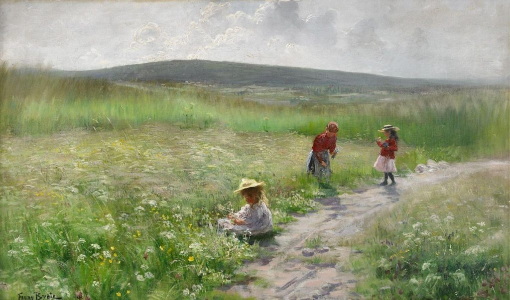 Fanny Brate, Summer- Three Girls Picking Flowers, 1895, private collection. Galphia.