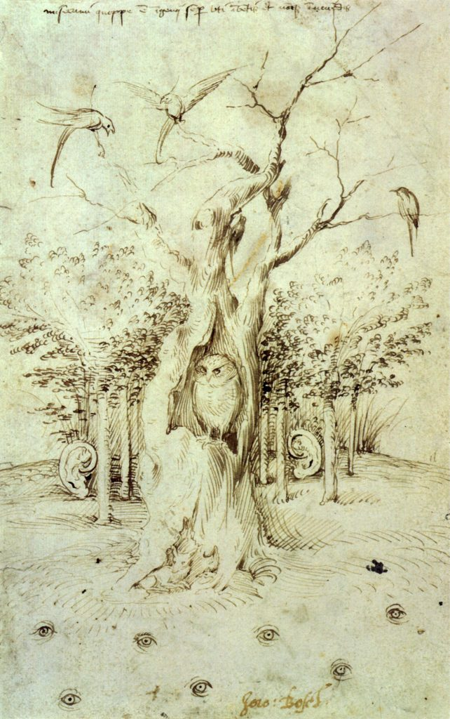 Hieronymus Bosch and owls: Hieronymus Bosch, The Trees Have Ears And The Field Has Eyes, c. 1500, Kupferstichkabinett,  Berlin, Germany.