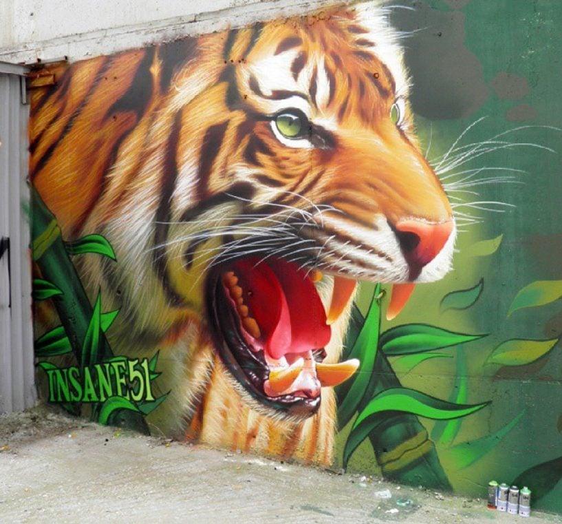 Insane51, Tiger, 2015, Kimis and Attiki Odos motorway, Irakleio, Athens, Greece. Artist's instagram page.