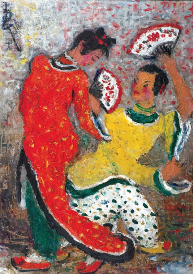 Pan Yuliang, Two Girls Dancing with Fans, date unknown
