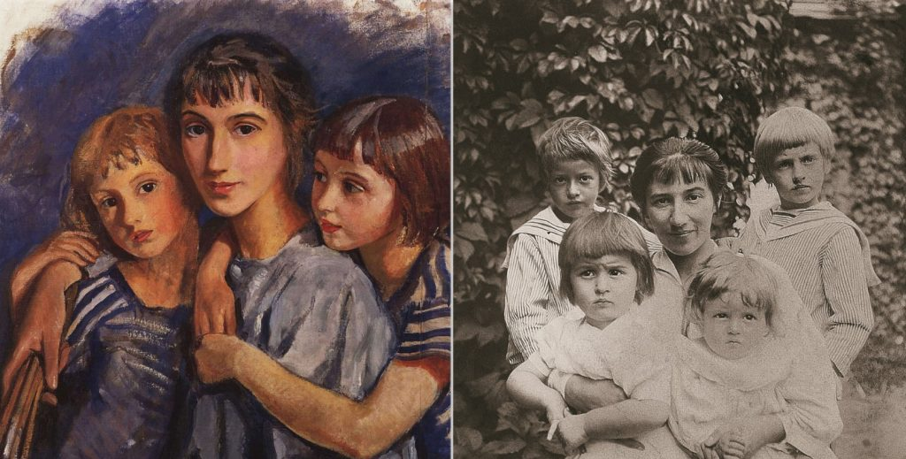 Zinaida Serebriakova. Left: Zinaida Serebriakova, Self-portrait with daughters (fragment), 1921, Rybinsk State Historical, Architectural and Art Museum Preserve, Rybinsk, Russia. Right: Zinaida Serebriakova with her children in 1914, photographer unknown.