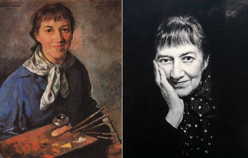 Zinaida Serebriakova, Zinaida Serebriakova, Self-portrait, 1956, Tula Art Museum, Tula, Russia. Vtbrussia. Right: Zinaida Serebriakova in 1964, photographer unknown.