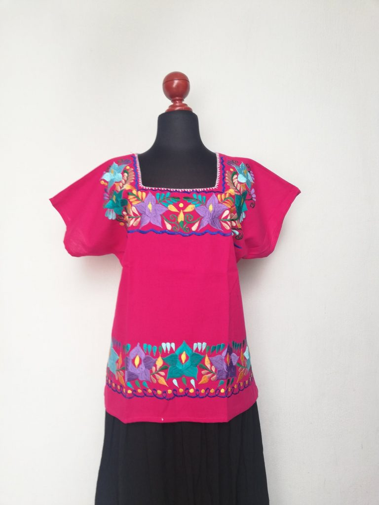 Traditional Mexican hand-embroidered blouse, Frida Kahlo's style